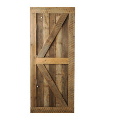 Big Sky Barn Doors - Big Horn Door, Unfinished, 38x81 - The Big Horn Door is als known as a British Brace, handcrafted from reclaimed Montana barnwood. Each Big Sky Barn Door is shipped completely assembled and ready to hang.     Due to the nature of antiqued reclaimed lumber, each door is unique in character and appearance.  Colors might vary slightly as well as wood grains, knots, nail holes, etc... Every door is handcrafted and inspected for quality assurance.    Hardware is not included.