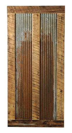 Big Sky Barn Doors - Bear Paw Door, Unfinished, 50x97 - The Bear Paw door is a truly unique barn door comprised of reclaimed Montana barnwood and rustic tin. Each Big Sky Barn Door is shipped completely assembled and ready to hang.     Due to the nature of antiqued reclaimed lumber, each door is unique in character and appearance.  Colors might vary slightly as well as wood grains, knots, nail holes, etc... Every door is handcrafted and inspected for quality assurance.    Hardware is not included.