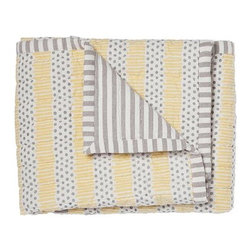 Pehr Designs - Grey, Yellow Quilted Nursery Blanket - The 100% quilted cotton and yarn dyed stripe blanket is destined to be the family favorite blankie. Quilted front, yearn dyed stripe reverse.