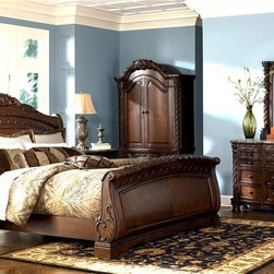 Millwood by ivgStores - 5 Pc Sleigh Bedroom - North Sea Collection (K - Choose Size: KingOrnate carved accents and graceful curves highlight this five-piece sleigh bedroom set, a regal and stunning addition to any master bedroom. The set includes a sleigh style bed, a dresser and mirror, an armoire with arched cabinet doors and a two-drawer nightstand. The set is finished in dark brown with inlay stone tops. Collection: North Sea. Set includes Headboard, Footboard, Rails, Nightstand, Armoire, Dresser, and Mirror. Color/Finish: Dark Brown. Constructed with select hardwood veneers, hardwood solids and furniture grade resin. Dark casual finish. Dark colored metal accents & hardware. Large scale decorative pilasters and ornately detailed appliques. Beveled mirror. Serpentine shaped drawer fronts. Diamond patterned inlay stone veneer tops on dresser and nightstand. Framed drawer fronts. Cedar veneer or felt lined drawer bottoms. Concealed drawers in nightstand and armoire base. Armoire features a pull-out back & adjustable shelves. Mansion sized poster bed with upholstered headboard panel. Inlaid marble veneer caps on panel footboard. Queen Headboard: 65 in. W x 11 in. L x 62 in. H. Queen Footboard: 67 in. W x 11 in. L x 34 in. H. Cal/King Headboard: 82 in. W x 11 in. L x 62 in. H. Cal/King Footboard: 84 in. W x 11 in. L x 34 in. H. Nightstand: 36 in. W x 20 in. L x 34 in. H. Armoire Base: 50 in. W x 24 in. L x 31 in. H. Armoire Top: 51 in. W x 27 in. L x 57 in. H. Dresser: 74 in. W x 20 in. L x 39 in. H. Mirror: 49 in. W x 5 in. L x 52 in. H