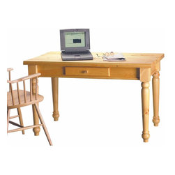 The Renovators Supply - Desks Mission Country Pine Office Desk 28 3/4'' H | 192213 - This Wentworth desk is crafted from solid pine and measures 28 3/4 in. high x 48 in. wide x 27 in. deep. There is one interior drawer that is 1 3/8 in. high x 13 7/8 in. wide x 8 in. deep. The legs come detached for shipping. It is finished in our Country Pine stain finish.