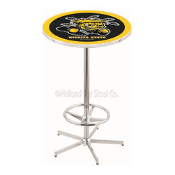 Holland Bar Stool - Holland Bar Stool L216 - 42 Inch Chrome Wichita State Pub Table - L216 - 42 Inch Chrome Wichita State Pub Table  belongs to College Collection by Holland Bar Stool Made for the ultimate sports fan, impress your buddies with this knockout from Holland Bar Stool. This L216 Wichita State table with retro inspried base provides a quality piece to for your Man Cave. You can't find a higher quality logo table on the market. The plating grade steel used to build the frame ensures it will withstand the abuse of the rowdiest of friends for years to come. The structure is triple chrome plated to ensure a rich, sleek, long lasting finish. If you're finishing your bar or game room, do it right with a table from Holland Bar Stool.  Pub Table (1)