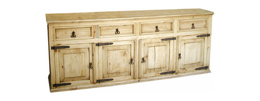 Mexican Artisans - Rustic Pine Buffet - Hand built from solid kiln-dried Mexican pine, this rustic pine credenza is a beautiful and versatile addition to any home. Use as an entertainment console for your large flat screen TV, an office credenza, or dining room buffet or bathroom double sink console.