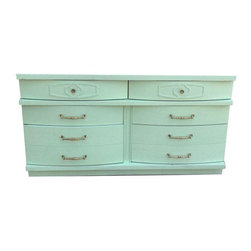 Pre-owned Mid-Century Modern Mint and Gold Dresser - We put a little twist on this mid-century dresser- mint & gold brought this well loved piece back to life.  A few minor dings but in good condition.  Great storage. This piece would look fabulous in a babies nursery!