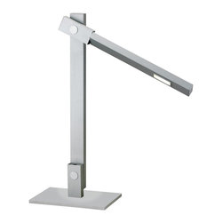 Adesso - Adesso Reach LED Contemporary Desk Lamp X-22-3563 - Adesso pushes the envelope on high end design once again! The Reach Desk Lamp has a 7.2 Watt LED cluster covered by a magnifier bulb shield, which widens the light cast by the lamp as well as intensifying the brightness. The shade rotates and the lamp adjusts so that it can function for reading light, ambient light or even as a wall washer. Available in black with red push-button switch or steel with black push-button switch.