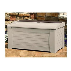 Suncast - 127 Gallon Deck Box w Seat & Accessory Storage Tray in Taupe - End the clutter around your pool deck with this handy storage box.  Incredible 127 gallon capacity bin easily stores pool toys, towels, or even chair cushions.  Natural color weather-resistant material will easily blend with any outdoor décor.  With accessory storage tray and bench seat top, this versatile container is an excellent choice for your patio. 127 gallon capacity. Ideal for cushions, yard gear and pool supplies. Storage tray for small accessories. Easy 5 minute assembly. Color: Light taupe with mocha accents. Size: 54.5 in. W x 28 in. D x 27 in. H. Internal Size: 52 in. W x 24.75 in. D x 21.75 in. H