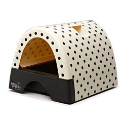 Automated Pet Care Products - Kitty A GoGo Polka Dot Print Designer Cat Litter Box - Cats are members of millions of homes and everyone knows about the dirty, not-so-secret dilemma of the litter box. Cat owners with taste and style choose the Kitty A GoGo to remove an ugly eyesore from their home and give their cat a beautiful place to Kitty A GoGo! Even cats can take pride in their special space which is offered in 6 designs: Gray Metallic, Polka Dots, Leopard Print, Black, Flower Print, and Burl Wood Look. Cat owners in apartments, lofts and studio apartments will particularly appreciate this litter box as an attractive conversation piece in their décor.  Cat owners don't want to decorate their home with a box of clumps but that is what often happened before Kitty A Go Go!  Made of solid heavy duty plastic for easy disassembly and cleaning, the Kitty A Go Go is a stylish addition to your decor.  As it is enclosed on three sides, less litter gets kicked out helping keep your home clean and tidy.  With the clear plastic hinged door, the Kitty A Go Go is one of the neatest litter boxes available.  The large litter drawer pulls out for easy servicing and the six Kitty A Go Go styles add a decoative element to any home.  Constructed using highest quality, high impact, stain-resistant plastic.  Pull out litter tray drawer for easy cleaning. Large capacity litter tray. Disposable liner (included).  Built-in ventilation slots. No disassembly required to clean litter tray.  Cleans in just seconds. Hideaway hand scoop storage. Portable with convenient grab handle. Made in China