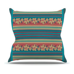 """KESS InHouse - Nina May """"Mahalo Denim Stripe"""" Teal Floral Throw Pillow, Outdoor, 18""""x18"""" - Decorate your backyard, patio or even take it on a picnic with the Kess Inhouse outdoor throw pillow! Complete your backyard by adding unique artwork, patterns, illustrations and colors! Be the envy of your neighbors and friends with this long lasting outdoor artistic and innovative pillow. These pillows are printed on both sides for added pizzazz!"""