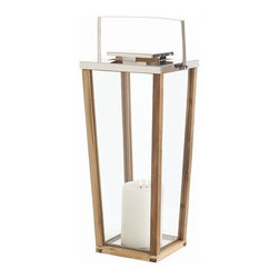 Arteriors - Zeke Lantern, Natural, Large - Setting a mood with candlelight needn't be a fussy affair. Treat your favorite casual space to this sleek wood and glass lantern, subtly accented with stainless steel.