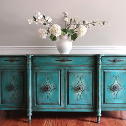 Vintage Hand Painted French Country Vintage Turquoise Buffet Sideboard - http://eiamagazine.com/product-category/erika-szilvai/
