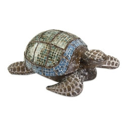 "IMAX - Talulah Carved Wood Mosaic Turtle - This beautiful hand-crafted Talulah Turtle desk accessory has a wood body and glass mosaic design. Lift the shell to store business cards or desktop odds and ends. Item Dimensions: (6.25""h x 13""w x 9.5"")"