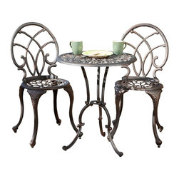 Best Selling Home - Charleston Aluminum Bistro Set in Bronze Fini - Includes a table and two chairs. Cast aluminum construction. Wide-leg stance adds stability. Intricate designs for added flare. Table: 23.5 in. Dia. x 28 in. H. Chairs: 15.75 in. W x 15.75 in. D x 35.75 in. HThis outdoor set is perfect for your patio, balcony or garden