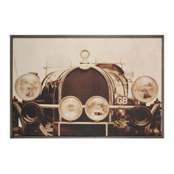 Kathy Kuo Home - Vintage Bugatti Roadster Industrial Loft Photo Wall Art - Framed - When it comes to luxury, either go big or go Bugatti. This sepia-toned framed wall art is steeped in vintage luxury. Lifelike and custom made to order, you can almost feel the wind in your hair every time you gaze upon it.
