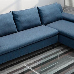 Zuo Modern - Sofa in Cowboy Blue - Warranty: One year limited. Made from wood and fabric. Assembly required. Seat Width: 94.5 in.. Seat Depth: 26 in. to 53.5 in.. Seat Height: 17.3 in.. Arm Height: 22 in.. Overall: 102.4 in. L x 32.3 in. W x 31.5 in. H (184.8 lbs.)
