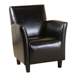 Great Deal Furniture - Classic Grand Black Leather Arm Chair - This Classic Black Leather Club Chair is one of its kind! It provides ultimate comfort, whether individually or in entertainment settings. Its design provides rich traditional touch for reception and private office areas. Its unique arms design and classic style allows this armchair to be as sophisticated as the conversations you'll have while sitting in it. Iconic traditional style is exhibited by its smooth lines and quality leather sheen. Medium firmness cushioning strikes a rare balance between plush comfort and support. A hardwood frame ensures lasting quality.