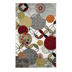 Mohawk Home - Strata Give And Take Gray Contemporary Geometric 8' x 10' Mohawk Rug (11826) - Pops of red, orange and yellow transform this design in to a work of art for your floor. Create a modern space by combing white furniture and red, orange and yellow accents and accessories.Action Backing