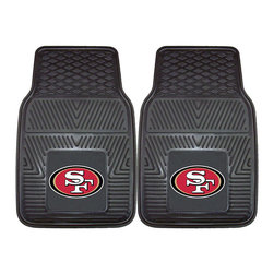 Fanmats - Fanmats San Francisco 49ers 2-piece Vinyl Car Mats - A universal fit makes this two-piece mat set ideal for cars, trucks, SUVs and RVs. The officially licensed San Francisco 49ers design in true team colors is permanently molded of vinyl for longevity.
