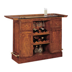Powell - Powell Brandon Warm Cherry Bar - Old English panel and frame design with removable full overhang framed granite top and antique brass finished foot rails. Storage features and functions includes 2 drawers for barware and utensils, 2 doors with shelves behind, 3 stemware racks for up to 12 wine glasses depending on size). Additionally, 2 adjustable shelves in the center section of the bar offer 4 bottle storage on one side and flat shelf space on their reverse side. Finished in a lightly distressed warm cherry with a satin sheen. Top assembly only.