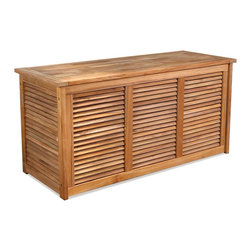 Thos. Baker - Teak Louvered Panel Outdoor Storage Box | Bainbridge Collection - Our new teak cushion box is constructed using a system of fixed teak louvers allowing maximum circulation of air while protecting cushions and other outdoor accessories from direct weather and dirt. Water tight lid is sealed with silicone to keep your items safe from the elements.