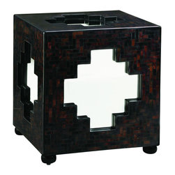 Lexington - Henry Link Zanzibar Cube - A polished surface of dark pen shell creates rich colors and unique patterns on each side of the cube, framing mirrored glass inserts in the shape of a Moroccan cross. Bun feet are finished in Ebony. Finish: Bronze Agate.