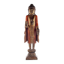 Brilliant Imports - Standing Buddha, Saffron - With one hand raised and one hand lowered, palms outwards, this 3.5 feet tall standing Buddha says 'Welcome' and 'Fear Not.' In saffron. Delicately hand-carved in wood.