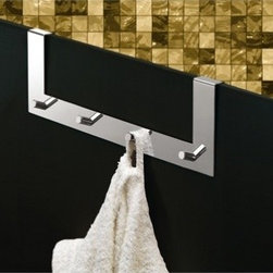 Gedy - Chrome Over Door Multiple Hook - Modern, square multiple 4 hook(s) over door hook for clothes, robes, or towels. Made in brass with polished chrome finish. Multiple over door hook. Made of chromed stainless steel. From Gedy Tyler Collection.