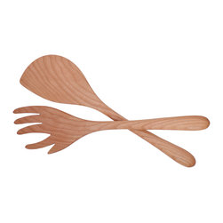 Jonathan's® Spoons - Forked Salad Set - Go for the greens! You'll delight dinner guests with these unusual servers, handcrafted in the USA from wild cherry wood and finished with clear mineral oil.