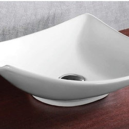 Caracalla - Square White Ceramic Vessel Bathroom Sink - Contemporary style, square white ceramic vessel bathroom Sink without overflow. Chic above counter washbasin comes with no hole. Made in Italy by Caracalla. Made out of white ceramic. Modern design. Without overflow. Standard drain size of 1.25 inches.