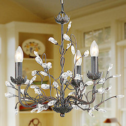 ceiling lights--lightsueprdeal.com - Classic Candle Featured Crystal Chandeliers with 3 Lights Arabesque Pattern