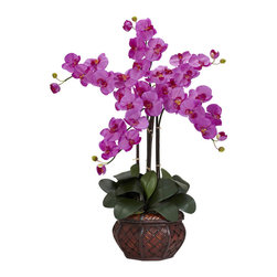 Nearly Natural - Phalaenopsis with Decorative Vase Silk Flower Arrangement - Our Phalaenopsis with vase is an elegant and exotic plant. Rich pastel colors easily add a touch of Asian beauty to any setting. Hard to pronounce but even harder to not admire, the 31 inch high Phalaenopsis resembles a miniature tree thus enhancing its already delicate look. Set atop a bed of green and a tasteful island inspired vase, this delicate looking flower lasts forever with no watering ever!