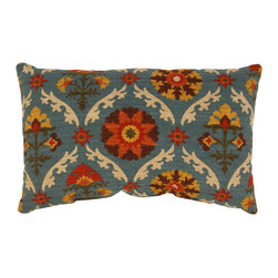 Pillow Perfect - Mayan Medallion Rectangular Throw Pillow in Adobe - Orange,green,ivory,and yellow highlights on a blue-gray background comprise the eye-catching Mayan design which highlights this decorative rectangular throw pillow. This attractive pillow is soft enough for a nap but firm enough for back support.