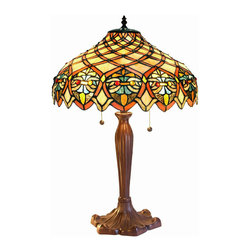 Warehouse of Tiffany - Tiffany-style Arielle Table Lamp - Make any living room look like a million dollars by adding an elegant Arielle stained-glass table lamp. This gorgeous hand-crafted Tiffany-style lamp gives you the bang of the classic Tiffany design motif without the hit to your wallet.