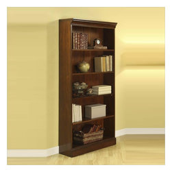 Riverside Furniture - Riverside Furniture Cantata Large Bookcase - Riverside Furniture - Bookcases - 4919 - The Cantata Large Bookcase features a total of 5 shelves 3 adjustable and 2 fixed to serve as storage for all of your reading materials. Constructed of very durable poplar hardwood solids and finished with cherry veneers this bookcase will surely a part of your home office for generations. Tip restraining hardware make sure that your office will be a safe place for small children to wander and play in. The Cantata Home Office Collection features is an ode to the furniture of the Italian Renaissance. This collection blends antique style and modern innovation to create a unique piece of art which is unnaturally casual. The pieces in this ensemble are made of premium quality poplar the same wood on which the Mona Lisa and other famous early renaissance Italian paintings were crafted and is accentuated with cherry and birch veneers to create this truly inspired collection which will surely be the highlight of your home office.