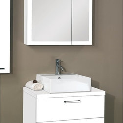 Iotti - 30 Inch Bathroom Vanity Set - You'll get plenty of storage and a medium footprint with this luxe vanity set from Italy. It comes in waterproof Glossy White, Wenge and Gray Oak finishes. A full, raised sink still gives you counter space for your toiletries. Wide, double drawers have polished chrome handles and soft close runners for low noise and long life. The medicine cabinet holds two shelves behind offset, mirrored double doors that resist scratches and corrosion. Set Includes: . Vanity Cabinets (4 drawers). (2) vessel ceramic sink (21.3 inch x 5.3 inch x 17.7 inch each). Medicine Cabinets (20.6 inch x 27.7 inch x 5.7 inch each). Vanity Lights. Vanity Set Features:. Vanity cabinets made of engineered wood. Cabinets feature waterproof panels. Available in Wenge (as shown), Grey Oak, Glossy White. Cabinets feature 4 soft-closing drawers. Faucet not included. Perfect for modern bathrooms. Made and designed in Italy. Includes manufacturer 5 year warranty.