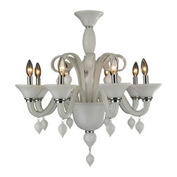 """Worldwide Lighting - Murano Venetian Style 8 Light Blown Glass in White Finish Chandelier 27"""" x 27"""" - This stunning 8-light Venetian Style Chandelier only uses the best quality material and workmanship ensuring a beautiful heirloom quality piece. Featuring a hand crafted quality white glass in traditional Italian style and gleaming Polished Chrome finish hardware that�s actually blown into the glass during the production process, this elegant chandelier is a work of art in its quality and beauty. Worldwide Lighting Corporation is a privately owned manufacturer of high quality crystal chandeliers, pendants, surface mounts, sconces and custom decorative lighting products for the residential, hospitality and commercial building markets. Our high quality crystals meet all standards of perfection, possessing lead oxide of 30% that is above industry standards and can be seen in prestigious homes, hotels, restaurants, casinos, and churches across the country. Our mission is to enhance your lighting needs with exceptional quality fixtures at a reasonable price."""
