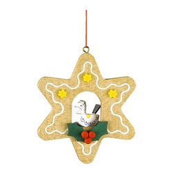 Alexander Taron - Alexander Taron Christian Ulbricht Ornament - Rocking Horse in Gingerbread Star - The wooden star-shaped Gingerbread cookie ornament has a rocking horse center. Yellow stars - green holly leaves with red berries - and a drizzle of white frosting accents the outline. Made in Germany by Christian Ulbricht.