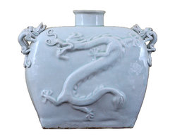 Oriental Danny - Ceramic Dragon vase - Unique ceramic dragon vase with raised up dragon on both sides of the vase. Dragon symbolizes imperialism and masculinity. The vase color is soft celadon. This is an antique piece.
