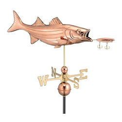 Good Directions, Inc. - Good Directions Bass with Lure Weathervane - Polished Copper - It's every fisherman's dream: a beautiful bass taking a bite of a lure! Now you can enjoy catching sight of this big-bodied fish on the rooftop of your house, barn, garage, or cupola. Our Good Directions artisans use Old World techniques to handcraft this fully functional, standard-size weathervane that's unsurpassed in style, quality and durability. A great gift for fishing enthusiasts!