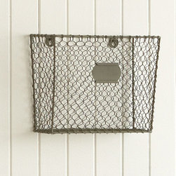 "Wire Mesh Wall-Mount Magazine Rack - Keep your papers and folders in order with these charming vintage modern wall-mounted baskets from Pottery Barn. I'd hang a bunch of them in a grid or a row if I had a big fat Pottery Barn gift certificate!Holds standard size magazines or 8.5 x 11"" papers.Made of iron and zinc.12"" wide x 10"" high x 6"" deep"