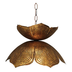 "Jamie Young Company - Contemporary Jamie Young Flowering Lotus 20"" Wide Antique Gold Pendant - There's no better lighting than this pendant for the antique lover. With it in any room, decorating will be close to complete."