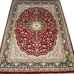 "ALRUG - Handmade Red Persian Kashan Rug 4' x 6' 3"" (ft) - This Pakistani Kashan design rug is hand-knotted with Wool on Cotton."