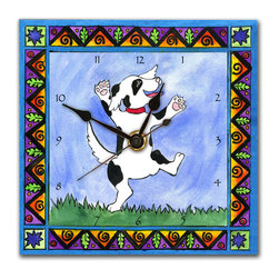 Dancing Dog Wall Clock - Our happy Dancing Dog Clock is hand made in our studio from a print of an original watercolor which is dry mounted onto black foam board and heat-sealed with a protective laminate. The end result looks just like ceramic tile but is so light it can be hung on a push pin. Each clock has a hanger on the back and comes in a gift box. The quartz movement runs on a single AA battery. Made in the USA. (Be sure to look for our dancing dog alarm clock and night light and dog-themed magnets, too!)