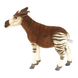 Hansa - Hansa Toys Okapi - Hansa Okapi is made of brown, white and black plush. Ages 3 and up. Airbrushed for detail.