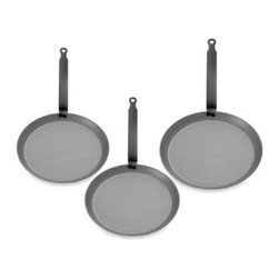 Mauviel - Mauviel M Steel Crepe Pans - These commercial-grade crepe pans from France feature black carbon steel and offer excellent heat conduction and durability without the weight of cast iron cookware.