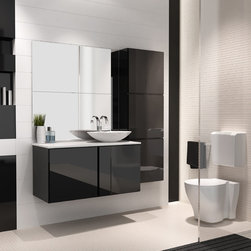 Michigan 40 inch bathroom vanity. Black glossy lacquered. - This item is available in stock.