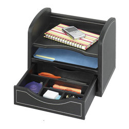 Safco - Safco Leather Look Desk/Drawer Organizer in Black - Safco - Desktop Organizers - 9435BL - The two horizontal compartments fit letter-sized documents. The bottom drawer can be removed and used as a desktop tray for organizing your accessories. Durable PVC laminate with stitched accents has the look and feel of leather and withstands heavy use without wear.