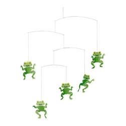 Flensted Mobiles - Happy Frogs Mobile - You have to kiss a lot of frogs before you find your handsome prince. Bring the fairytale to life with this adorable mobile, featuring a handful of happy frogs and their crowned prince.