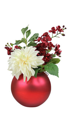 The Firefly Garden - Christmas Ornament - Illuminated Floral Design, Red - Christmas Ornament is a lovely holiday arrangement, featuring a bold white Dahlia with white and red Vanda Orchids. Choose from red or green Christmas ornament vases to illuminate the Christmas season. Uses 3 replaceable AA batteries.