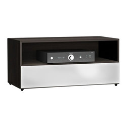 Nexera - Nexera Allure 36-Inch TV Stand, 1 Open Shelf, 1 Drawer - Allure 36-inches TV Stand with 1 open section and 1 drawer is part of the collection's modular design and can be paired with any other Allure TV Stands to create a wider entertainment set. It can also be paired with any Allure storage units and matching occasional tables to create a complete room setting. This Allure 36-inches TV Stand features 1 open section for electronic components and 1 large drawer on full extension slides, ideal to store and organize all your DVDs, accessories and more. Allure Collection from Nexera is offered in a distinctive Ebony and White contemporary finish and proposes modular and flexible combinations for your entertainment room, home office area and your bedroom.