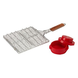 Bull BBQ - Stainless Steel Burger Basket and Press - Stainless Steel Burger Basket and Press